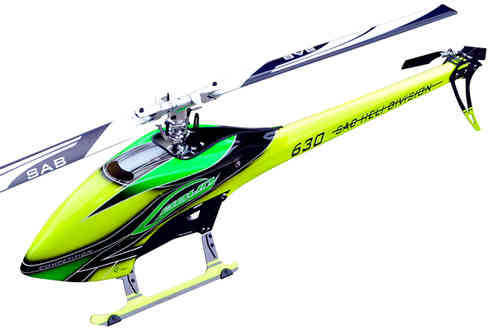 SAB GOBLIN 630 COMPETITION YELLOW/GREEN (With main and tail blades) [SG632]