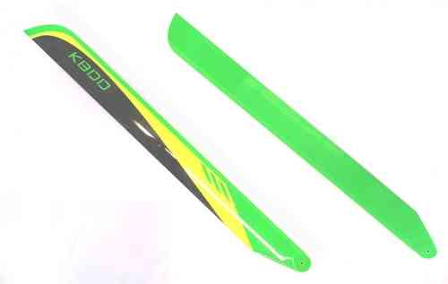 710B KBDD 710mm CF FBL Main Blades Lime/Yellow/Black W/ Safety Wire