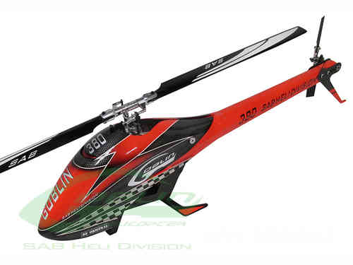 GOBLIN 380 RED/BLACK (with blade and tail blade)